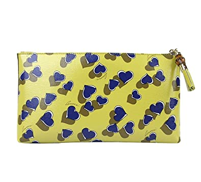 c2b56109e Image Unavailable. Image not available for. Color: Gucci Ladies Yellow  Leather Large Heartbeat Pouch Clutch Bag ...