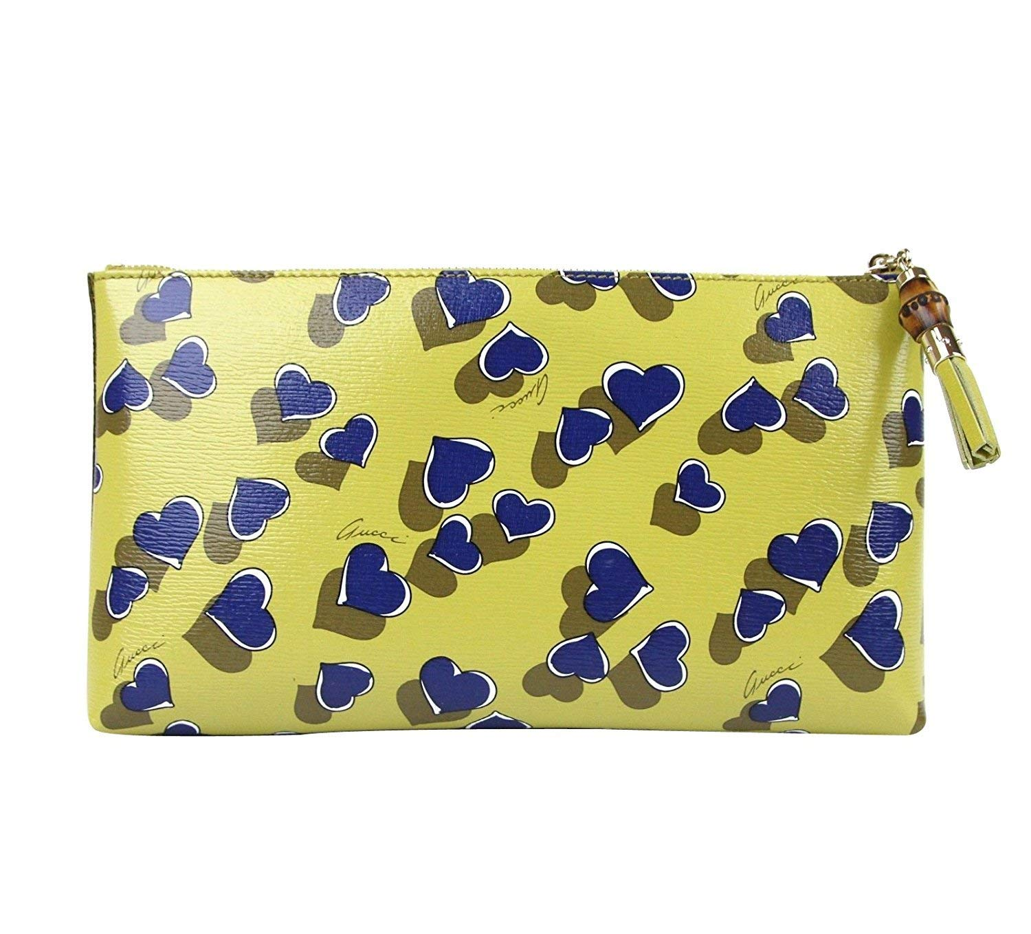 4e86b160d535 Gucci Ladies Yellow Leather Large Heartbeat Pouch Clutch Bag 338815 7309