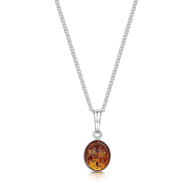 Forme ovale classique. Pendentif Amberta en argent massif 925 et ambre de la Baltique