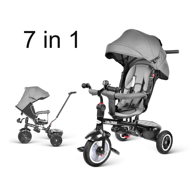 besrey Triciclos Bebes evolutivo Plegable 7 en 1 Bicicletas para Niños Cochecito con Asiento Reversible al Padres: Amazon.es: Juguetes y juegos