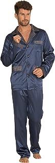 Forex Mens Satin Sleep and Loungewear Long Sleeve Button Shirt and Bottoms Pants Pyjamas Set