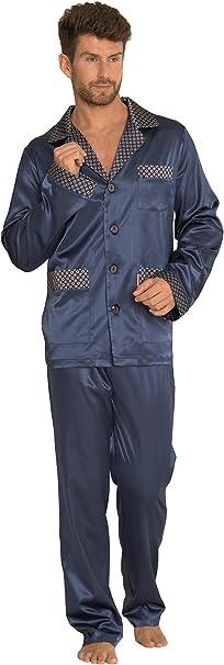 Pijama Noche Hombre Satin Camisa Mangas Largas Pantalones: Amazon.es: Ropa y accesorios