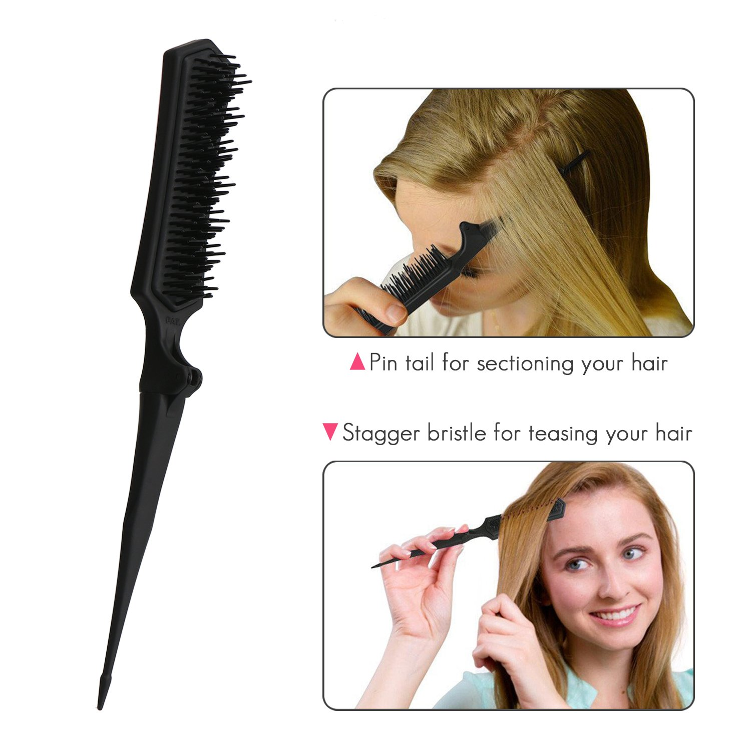 Amazon.com: Mini Folding Detangling Brush Hairstyles Teasing Comb ...