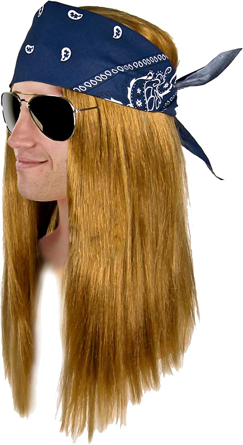 Axl Rose Wig 80s 90s Rocker Kit Mens Fancy Dress Costume Accessory