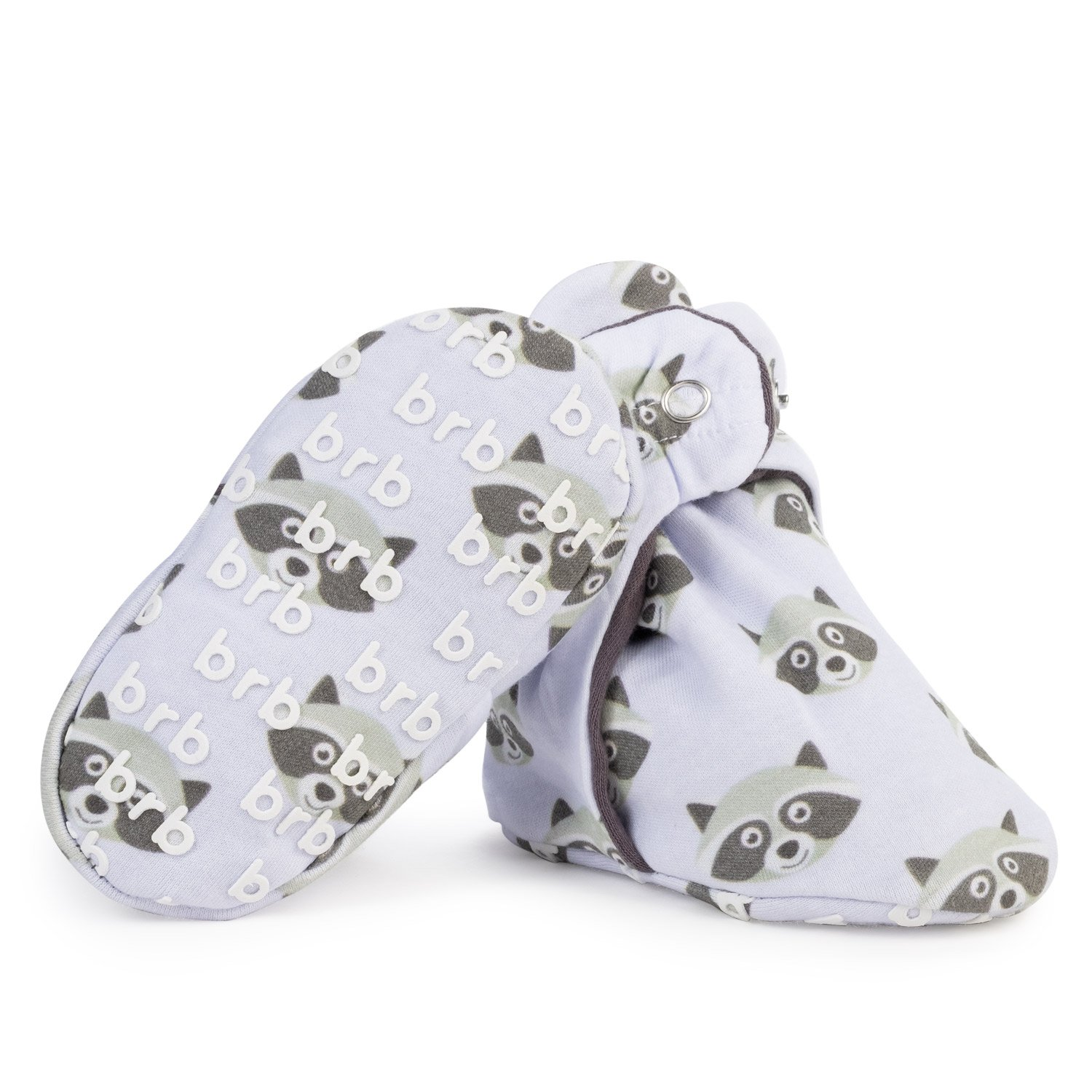 Lightweight Organic Cotton Baby Booties - Grippers, 3 Snaps - No Sock Bootie for Newborn Or Infant Boys & Girls (Bandits, US 4)