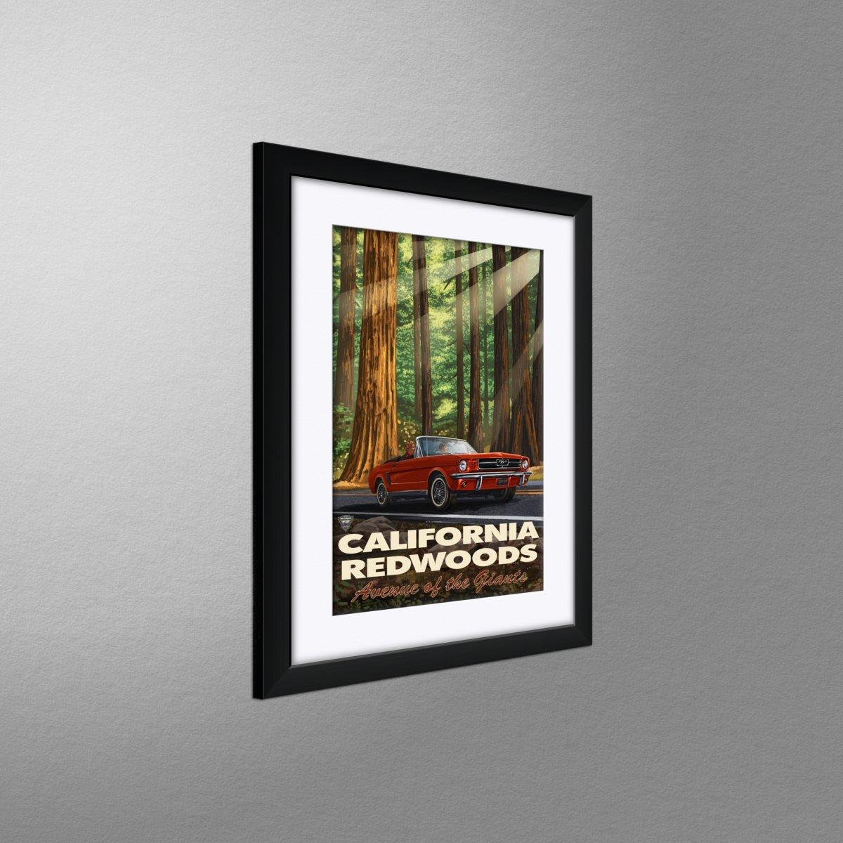 California Redwood Highway Mustang Travel Art Print Poster by Paul A Lanquist 12 x 18