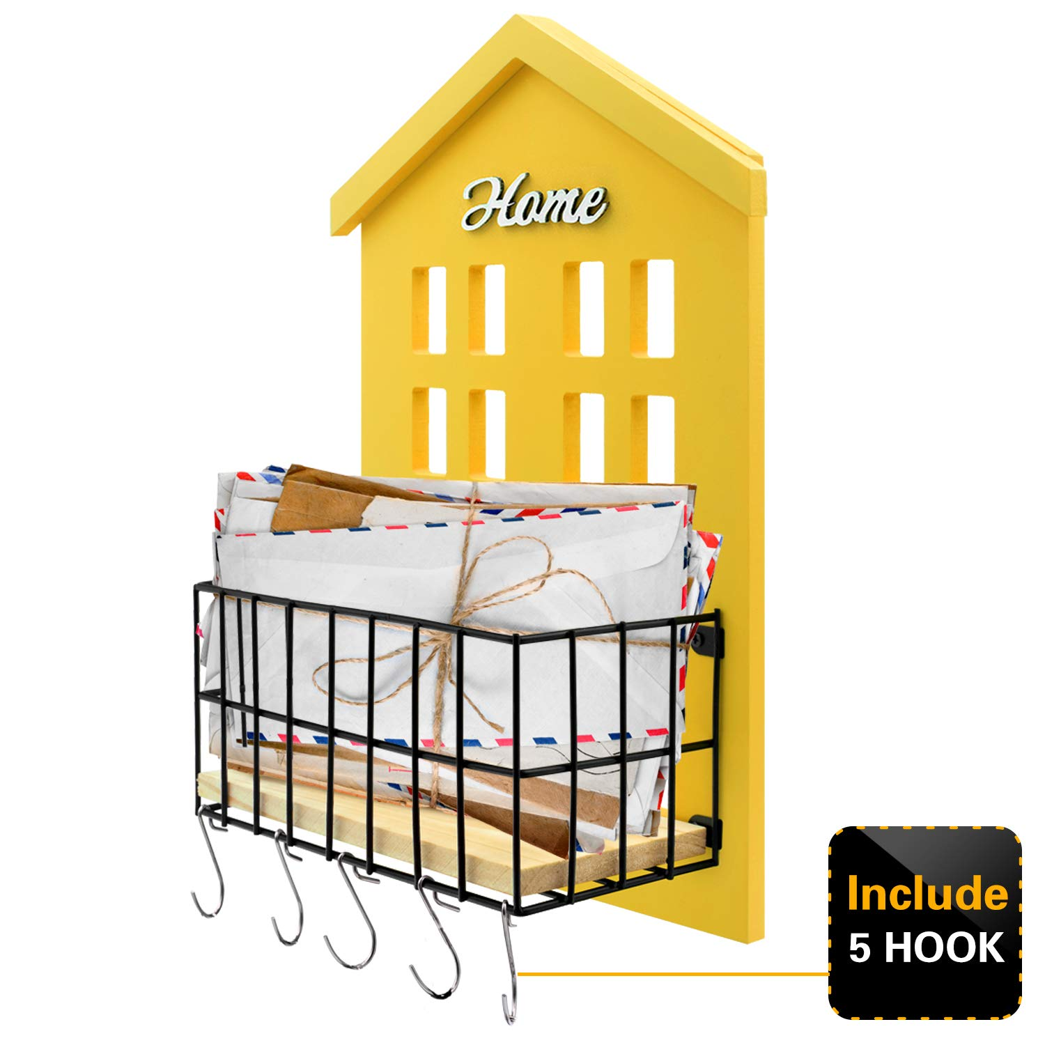 Key Holder -HENGSHENG Wood Wall Mounted.Mail, Letter Holder, Key Rack Organizer for Entryway, Kitchen, Office - Yellow (5 Keys Hooks)