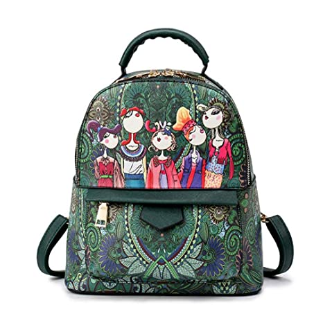 4d0048c3ac Women Cute Cartoon Pu Leather Backpacks Small Shoulder Bags College School  Daily Backpack for Teenagers Daypacks