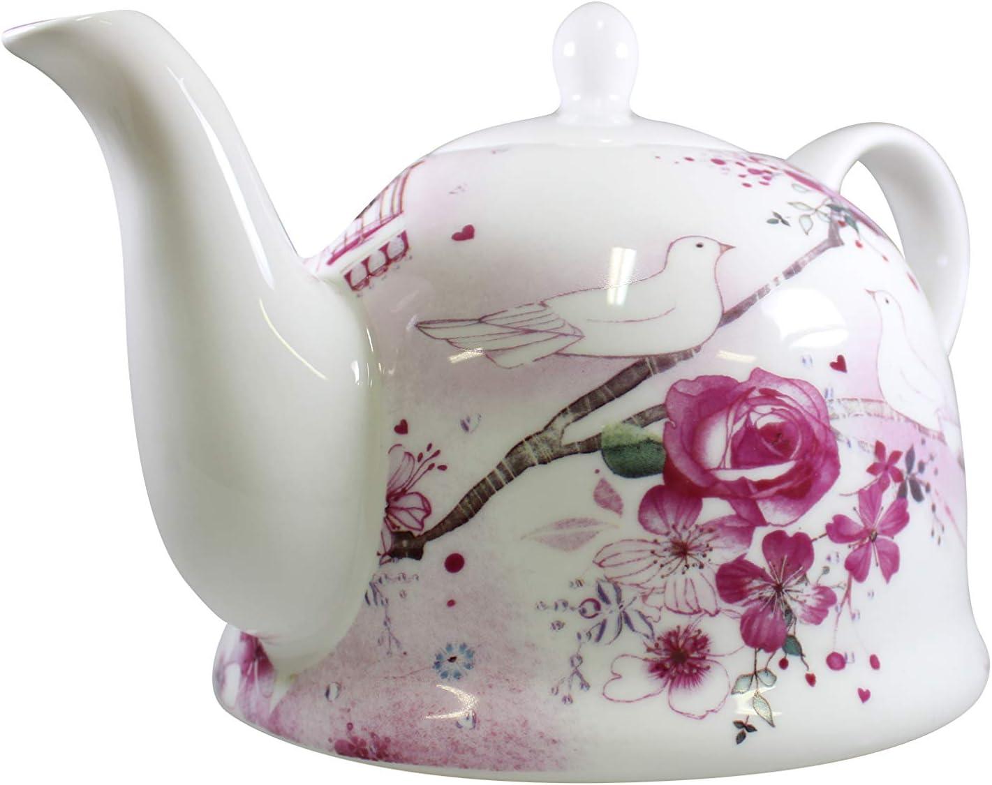 Tetera iglú de porcelana brillante, modelo « Flores y Palomas » - Elegante