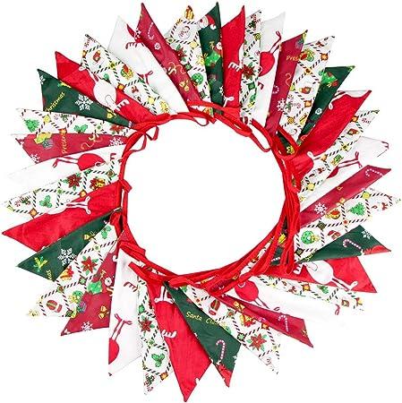 G2PLUS 10M Banner de Feliz Navidad,Guirnalda Banderas Banderines de Bandera de Tela, Tela Vintage de Doble Cara, Decoración Elegante Lamentable para Navidad: Amazon.es: Hogar