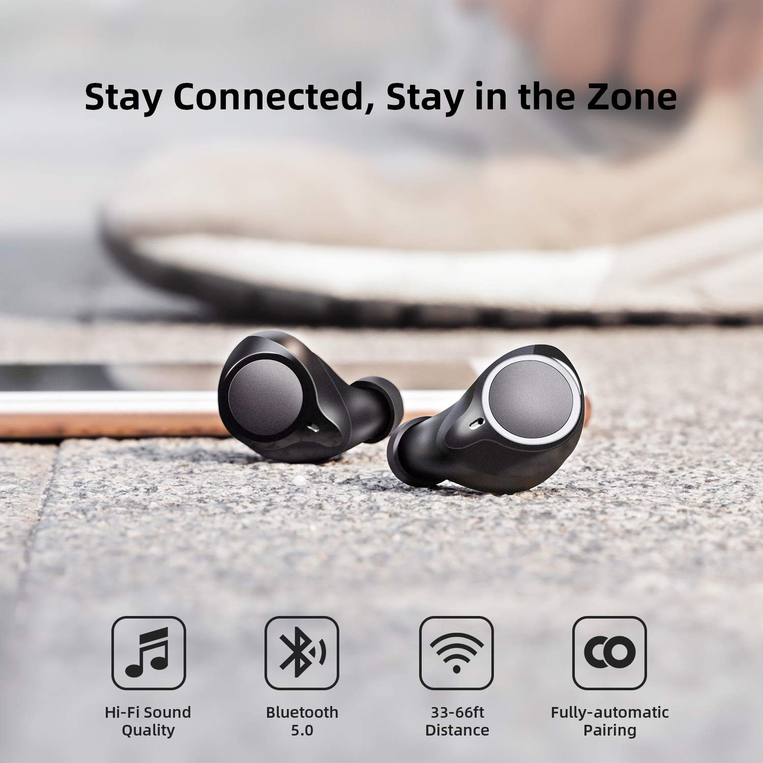 Bluetooth 5.0 Wireless Headphones, ENACFIRE Future Plus Wireless Bluetooth Earbuds with 104 Cycle Playing Time IPX5 Waterproof for Sport One-Key Control Hi-Fi Sound Quality Stable Connection by ENACFIRE (Image #4)