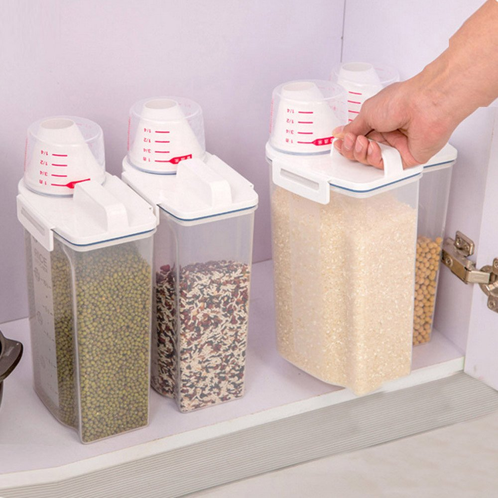 Gotian Kitchen Food Container Refrigerator Storage Box, Kitchen Food Cereal Grain Bean Rice Storage Box - Plastic 2L