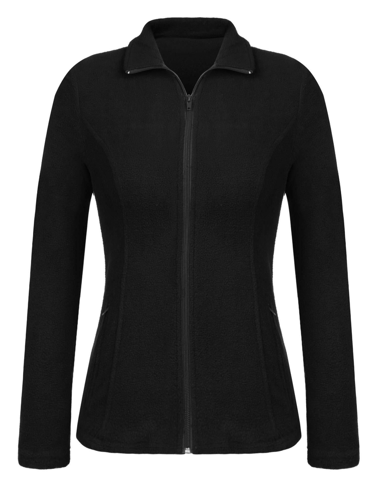 Grabsa Women's Fit Lightweight Winter Coat Classic Breathable Full-Zip Fleece Jacket Black L