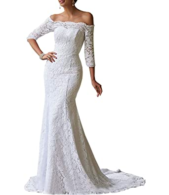 c8c6aee2eeeb Women's Mermaid Wedding Dresses Off The Shoulder 3/4 Sleeves Lace Bridal  Gown with Train at Amazon Women's Clothing store:
