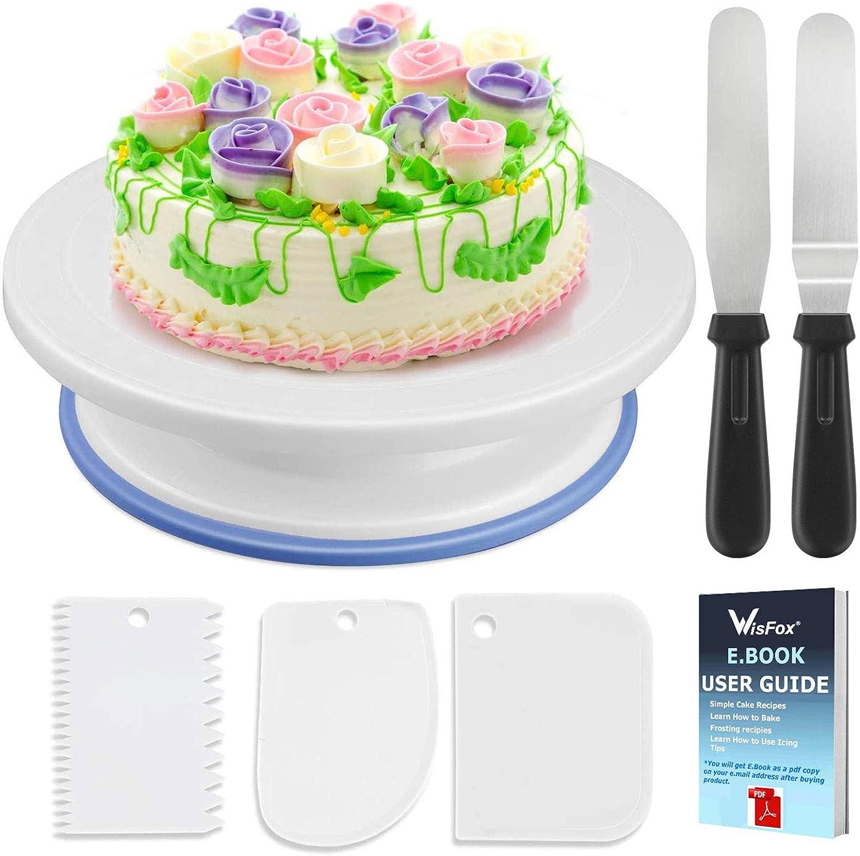 Soporte de torta giratorio de placa de pastel de WisFox Plato giratorio de decoración de pastel de placa giratoria con 2 juegos de cuchillos, juego de 3 capas suaves de glaseado