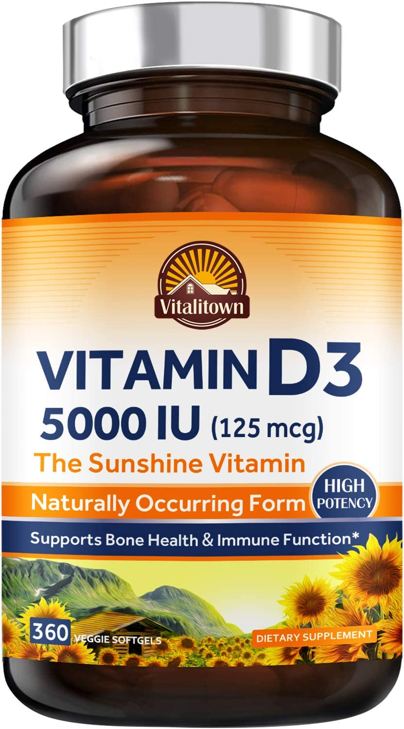 Vitalitown Vitamin D3 5000 IU (125 mcg), Supports Bone, Immune, Teeth, Muscle & Nerve Health, High Potency Natural Form D3 in Easy-to-Swallow Vegetarian Softgels, Non-GMO Dairy & Gluten Free 360ct