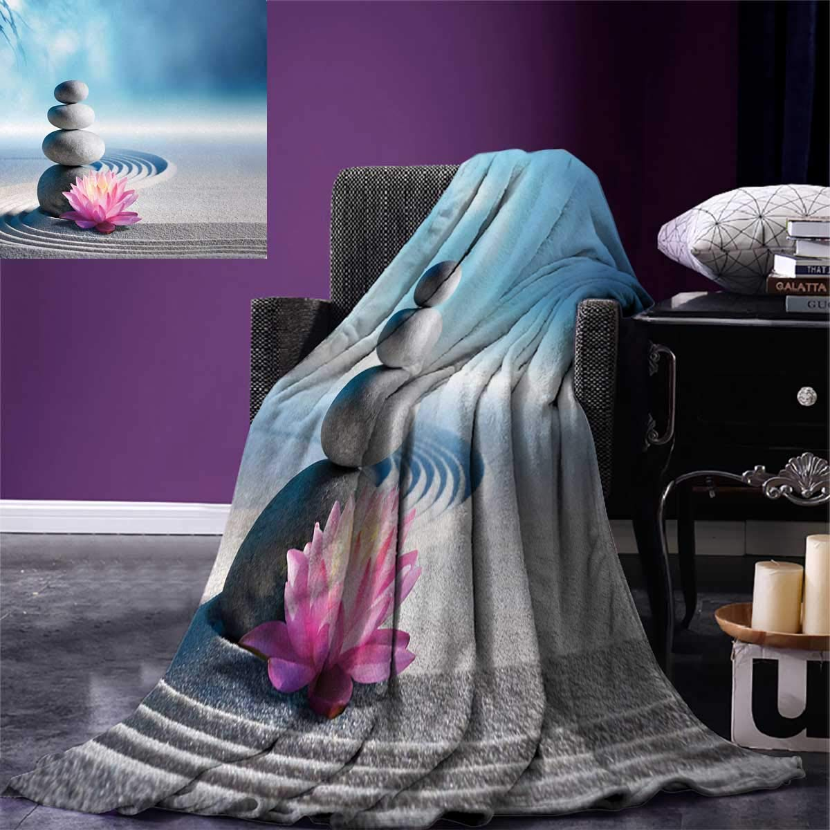 Spa Digital Printing Blanket Stones and Lotus Flower Over Sand Meditation Harmony Balance Flourish Your Spirit Summer Quilt Comforter 80''x60'' Grey Blue Pink