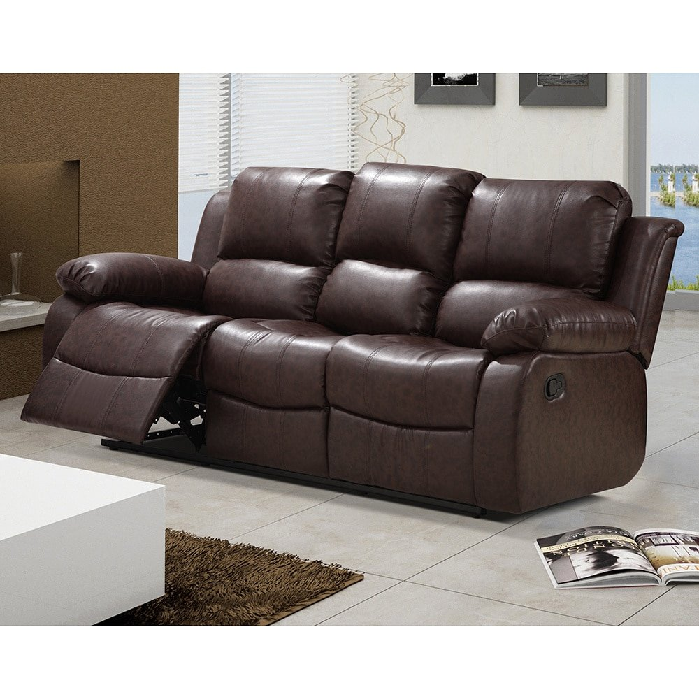 US Furnishing Express Madison Bonded Leather Modern Reclining Sofa with Drop-down Tea Table Brown