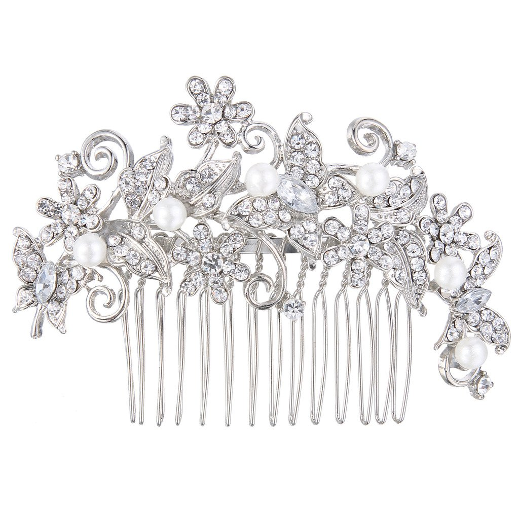 Ever Faith Silver-Tone Crystal Cream Simulated Pearl Elegant Floral Vine Butterfly Bridal Hair Comb Clear N06531-1