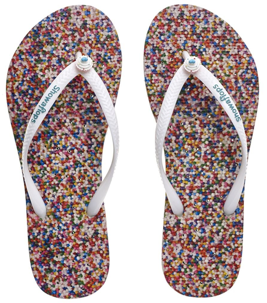 Showaflops Women's Antimicrobial Shower & Water Sandals for Pools, Dormitories and the Gym - Sprinkles with Cupcake Charm