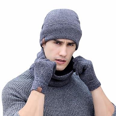 60920e2cb66b QinMM 3PC Chauffant Bonnet Écharpe Gants Hiver Chapeau Beanie pour Homme,  Tricot avec Écharpe de Doublure Polaire Doux Knit BeanieSet (Gris, Taille  Libre)  ...