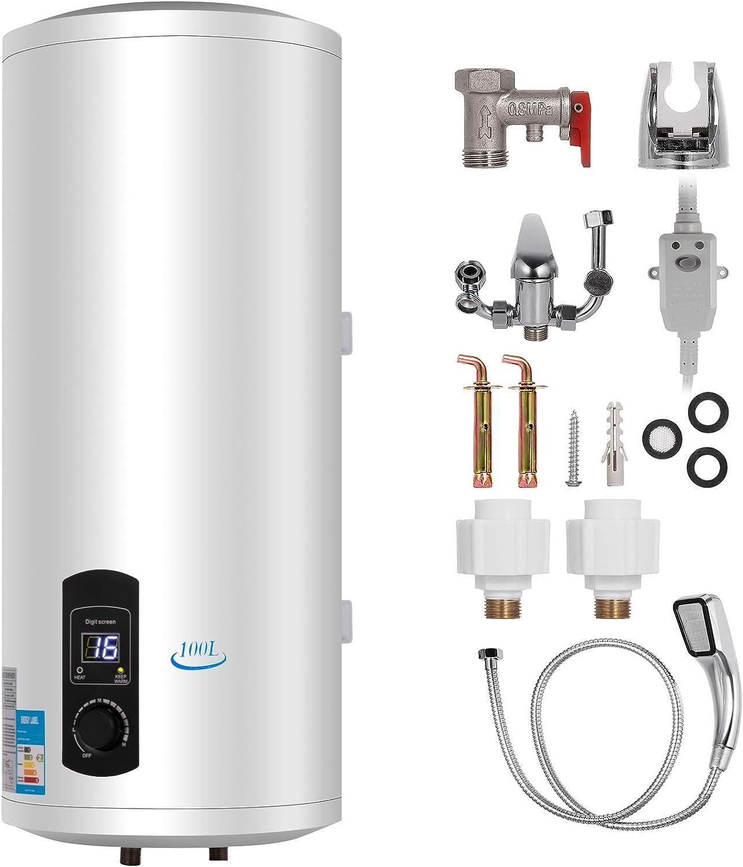 Bisujerro 120L Calentador de Agua Eléctrico 3KW Calentador de Agua con Tanque Hot Water Heater para Uso en Cocina o en Baño (120L)