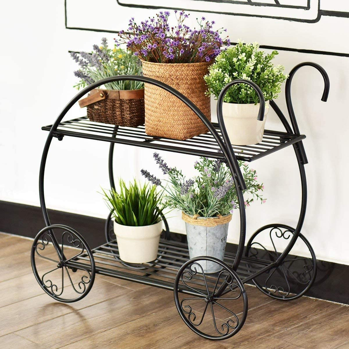 Giantex Garden Cart Metal Plant Stand with 4 Decorative Wheels, Succulent Collection Flower Pot Holder Display Shelf for Home Patio Garden Flower Shop, Parisian Style Plant Potted Rack (2-Tier)