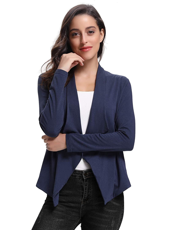 Abollria Womens Chiffon Casual 3//4 Long Sleeve Lightweight Waterfall Open Front Cardigan Blazer Coat