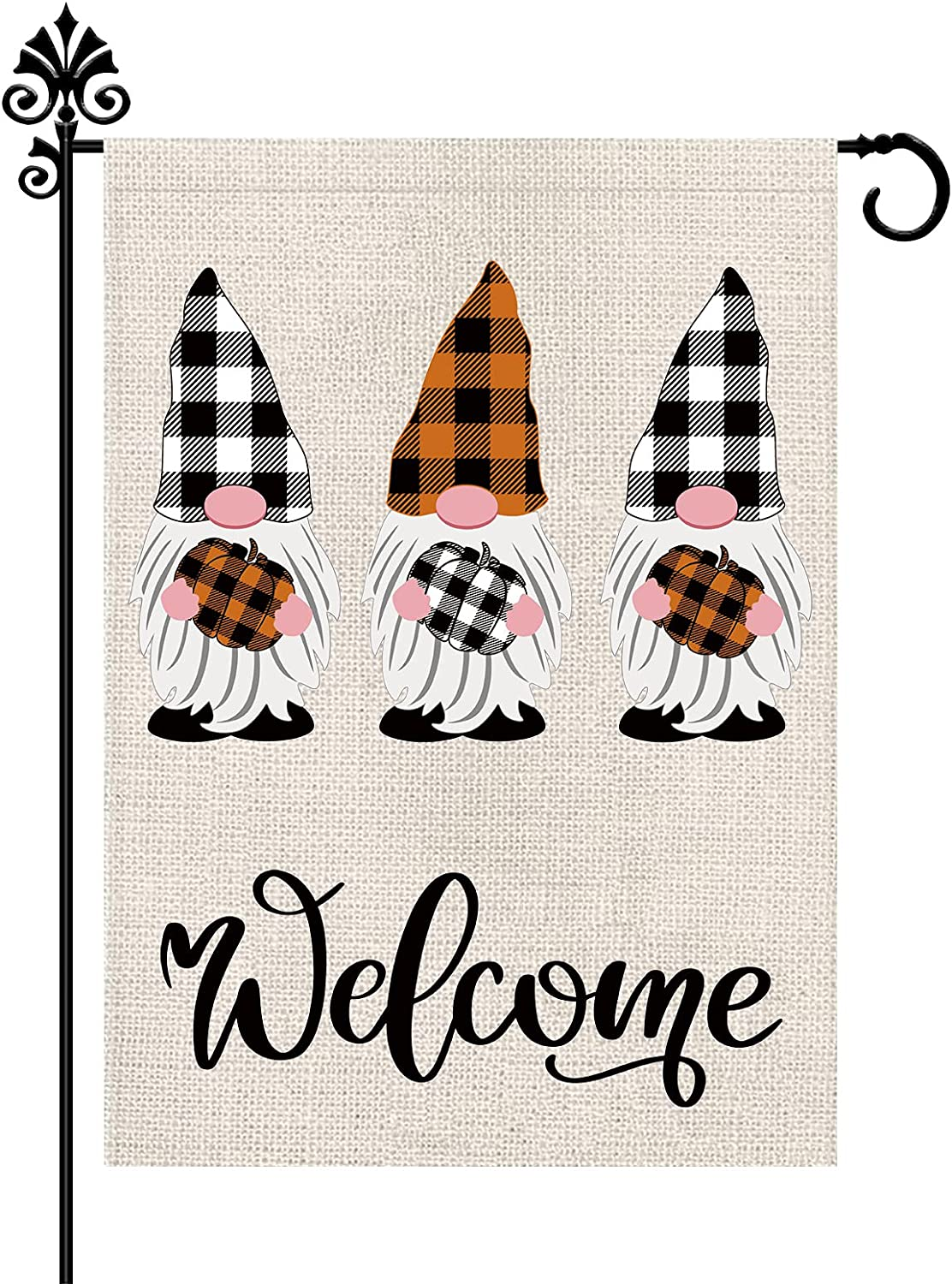 Welcome Fall Gnomes Pumpkin Autumn Havest Garden Flag Burlap Vertical Double Sided Outdoor Decorations Seasonal Flags Yard Decor 12.5 x 18 Inch