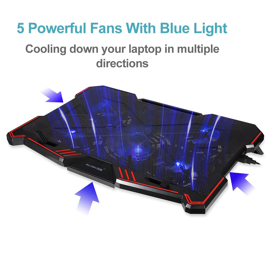 Laptop Cooling Pad BUJIAN 5 Ultra Quiet Fans and Red Led Lights with 13 Wind Speed (2600-5000RPM) and Ultra-Slim and Skid Proof Design for 12-15.6 Inch Laptop (S-X5) by BUJIAN (Image #2)