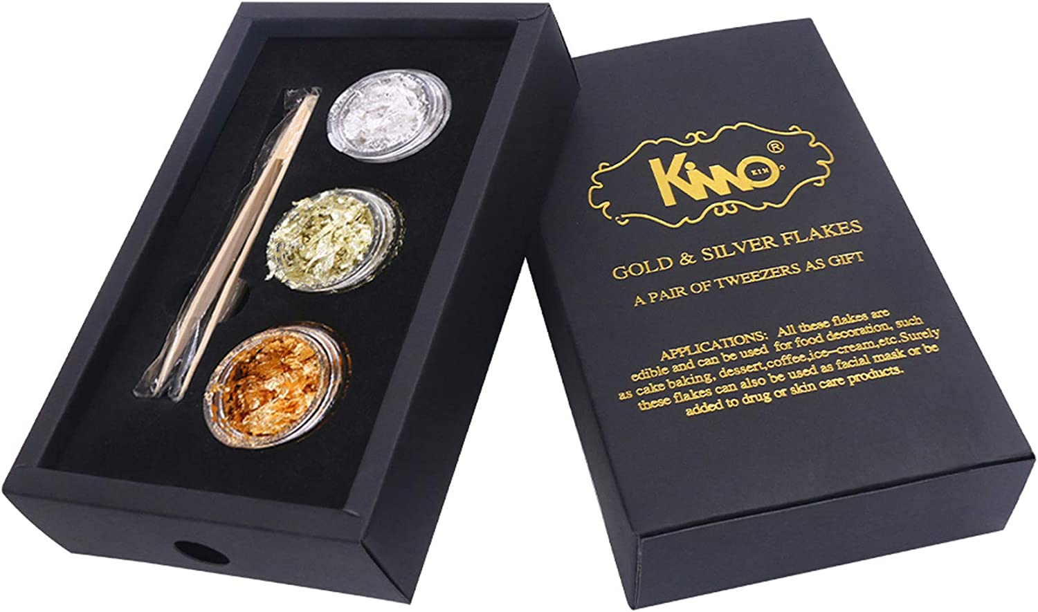 KINNO Edible 24K Yellow Gold Leaf Flakes - 18K Gold Flakes - Genuine Silver Flakes & Tweezers Set for for Makeup, Spa, Crafts, Gilding, Art, Bakery and Drink