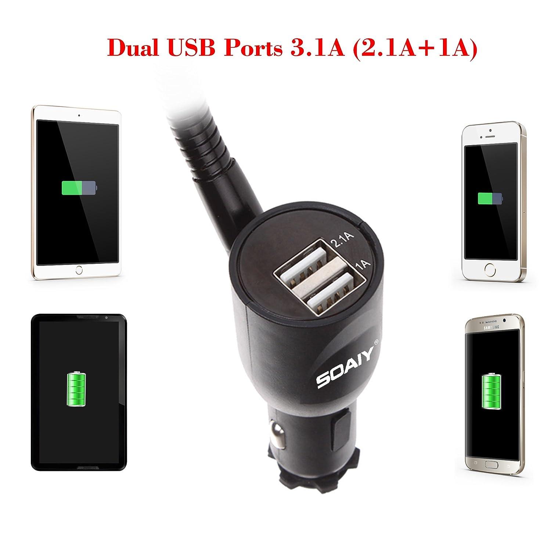 LED-Autobatterieanzeige 3.1A 12//24V kompatibel mit Smarthpones iPhone Samsung SOAIY 3-in-1 Universal KFZ Auto Halterung mit Ladeger/ät Dual USB Zigarettenanz/ünder Netzteil Ladefunktion inkl