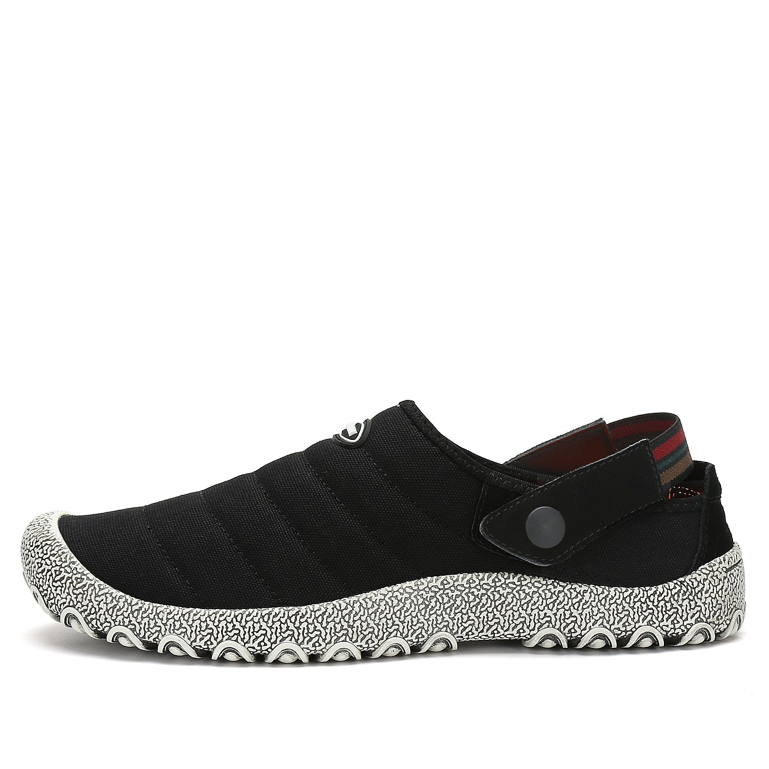 Leaproo Slippers for Mens Canvas Sneakers Women Slip On Low-Top Casual Shoes Clog Mule Indoor Outdoor Walking Sandals for Unisex Black-39