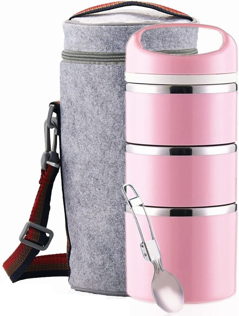 Lille Home Stackable Stainless Steel Thermal Compartment Lunch Box | 3-Tier Insulated Bento Box/Food Container with Insulated Lunch Bag and Foldable Stainless Steel Spoon | Women, Men (Pink)