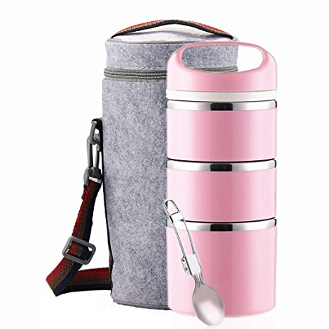 3521a7b466d1 Amazon.com: Lille Stackable Stainless Steel Thermal Lunch Box (2nd ...