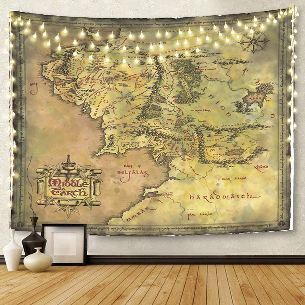 Semtomn Tapestry Artwork Wall Hanging Middle Earth Map 50x60 Inches Tapestries Mattress Tablecloth Curtain Home Decor Print