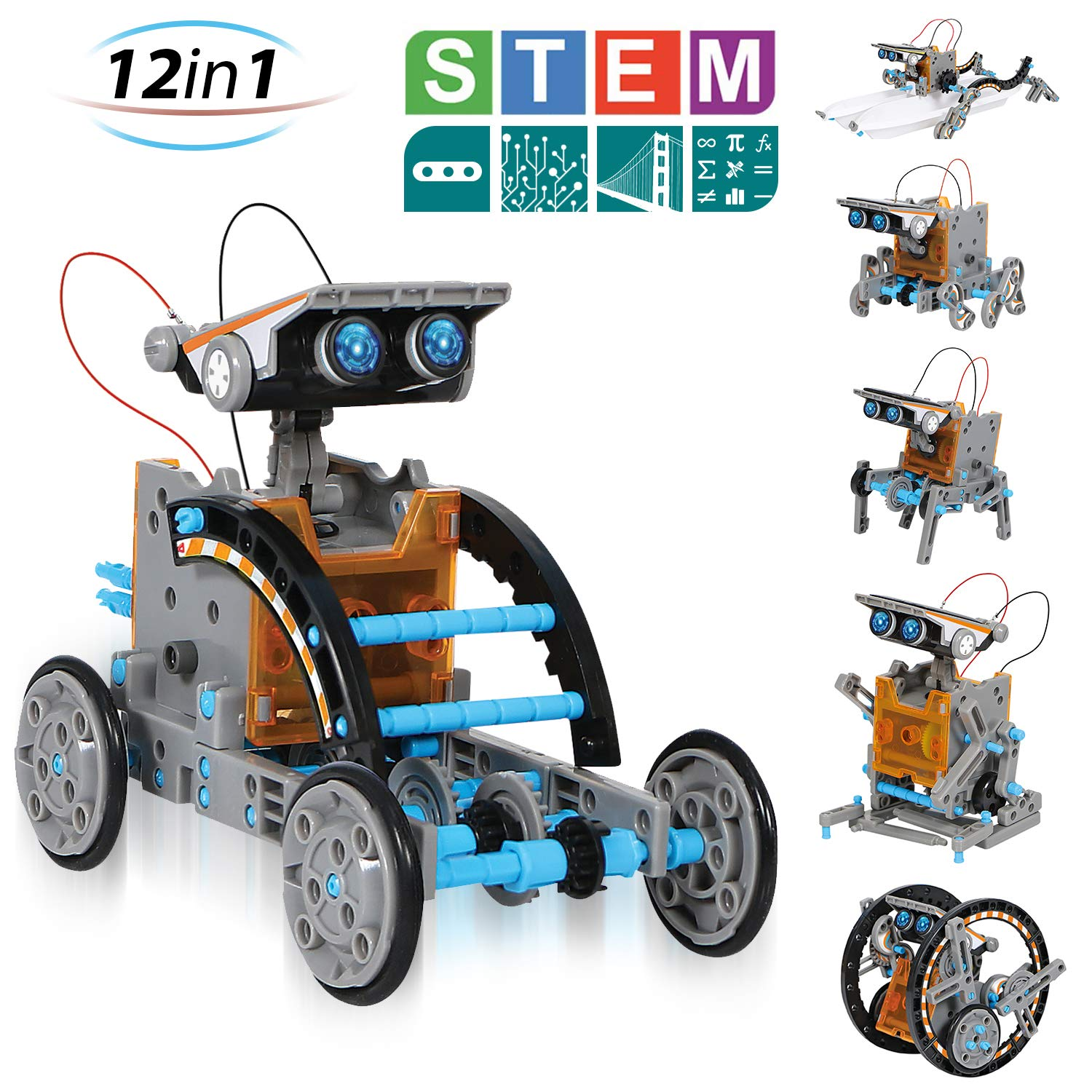 CIRO Solar Robot Creation Kit, 12-in-1 Solar Robot Kit for Kids, STEM Educational Science Toys with Working Solar Powered Motorized Engine and Gears by CIRO