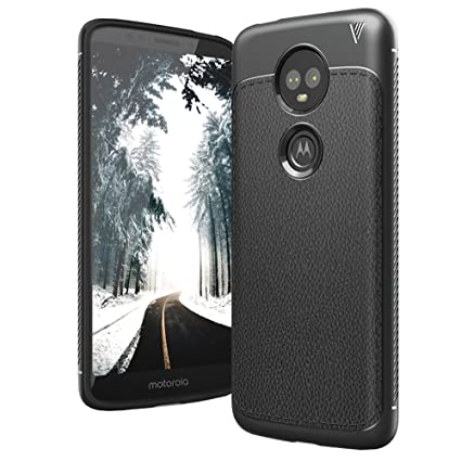 promo code b70b9 4f3da Case U Moto E5 Plus Leather Design Armor Back Cover for Moto E5 Plus (Black)