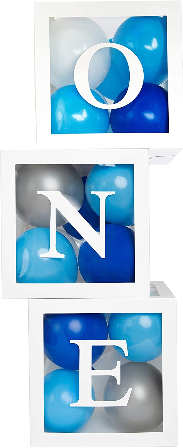 """First Birthday Balloon Boxes for Girl or Boy – Baby 1st Birthday Decorations and Birthday Photo Shoot Prop Spells ONE – Fill with Balloons of Any Color – Each Reusable Cube Measures 11.9"""""""