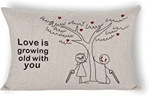 By Unbranded Love is Growing Old with You Farmhouse Decor Holiday Decorations Throw Cushion Case for Home Couch Lumbar Pillowcase 12×20 inch