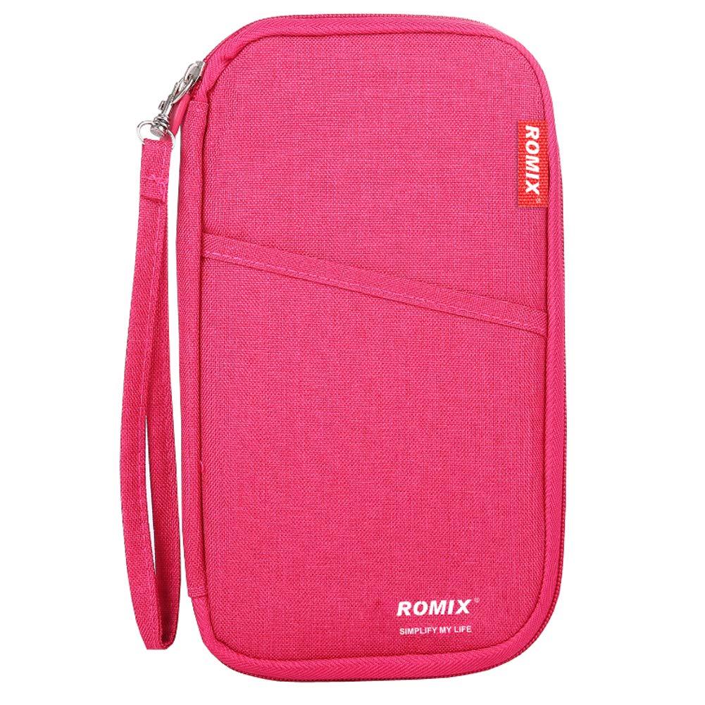 Travel Wallet Passport Holder, RFID Blocking Document Organizer Bag (Red)