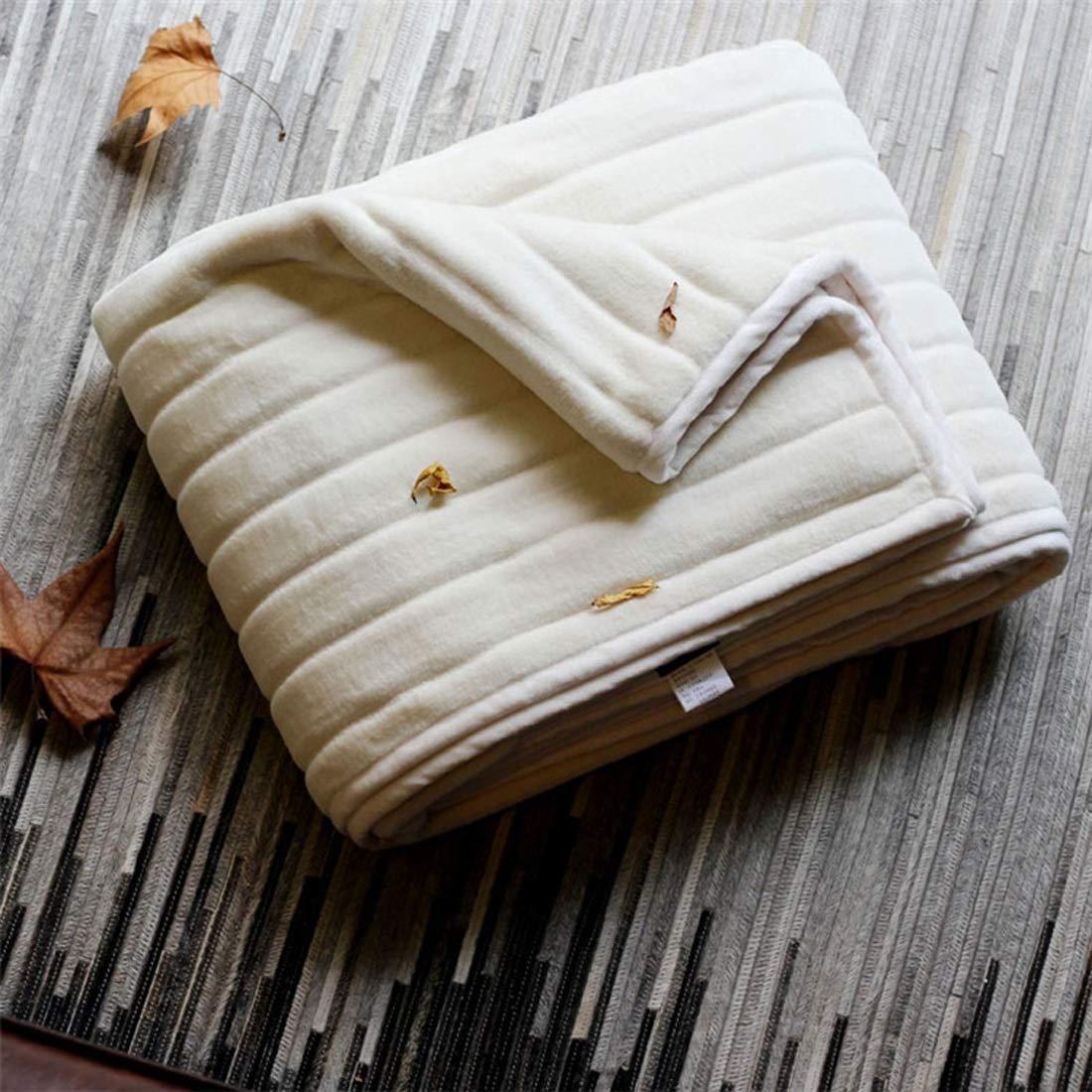 ノウ建材貿易 ニットブランケットワイドストライプデュアル目的の厚い暖かいソフトベッドのテールタオルは、ホームに適して (色 : ホワイト) B07RFB8RMF ホワイト