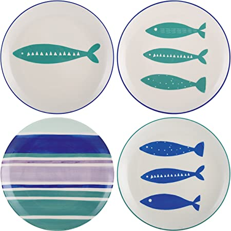 8 20.7 cm Mikasa Into The Blue Ceramic Side Plate Fish Print