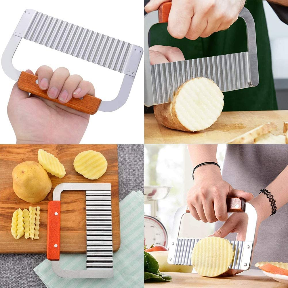 Crinkle Cutting Tool French Fry Slicer Stainless Steel Blade Wooden Handle Vegetable Stainless Steel Wooden Handle Potato Chip Cutter 2PCS Crinkle Cutter Potato Cutter