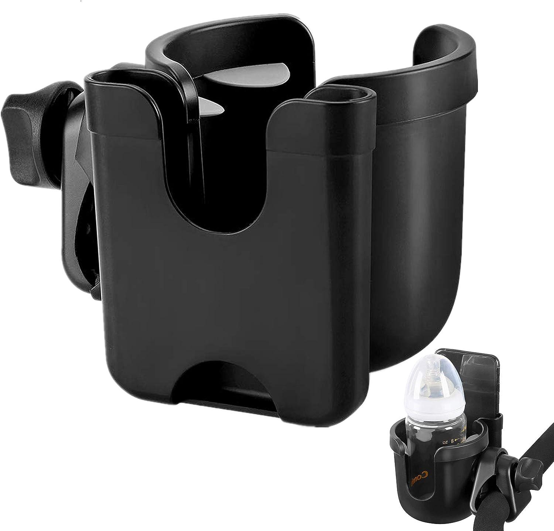 Andador Cochecito Silla de Ruedas Sostenedor de Botella Universal 2 en 1 con Soporte para Organizador de Tel/éfono Jaula para Botellas de Agua para Bicicletas Portavasos para Cochecito