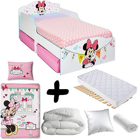Bebegavroche Pack Completo Premium Cama Minnie Mouse cajones=Cama + colchón & – Juego + edredón + Almohada