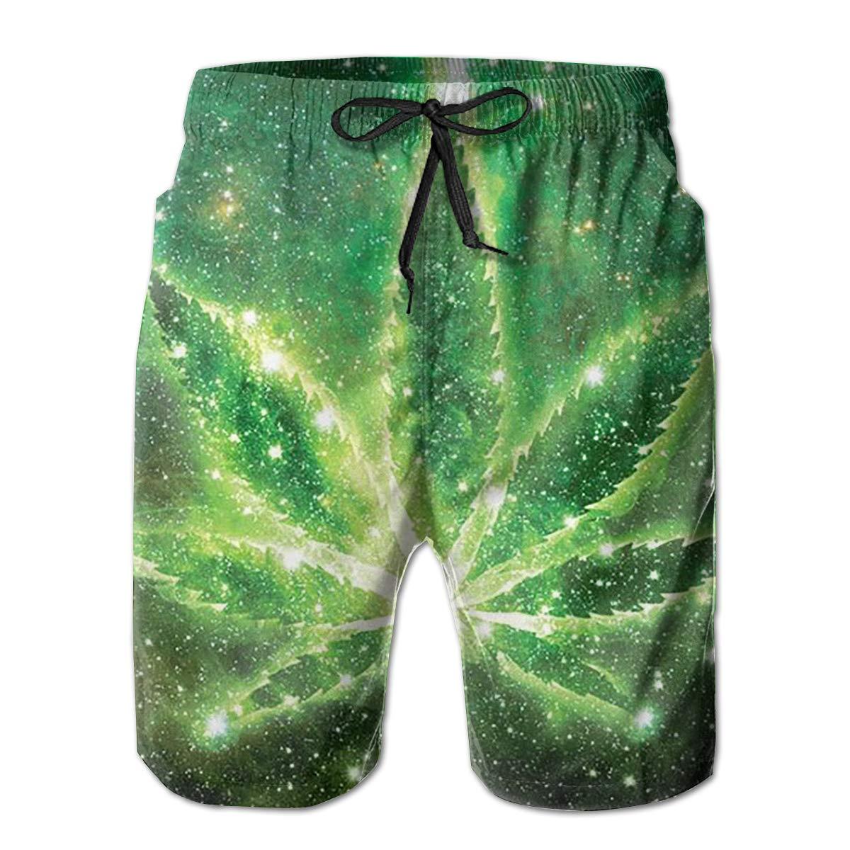FUNSTYEET Green Weed Mens Board Shorts Swim Mesh Lining and Side Pocket