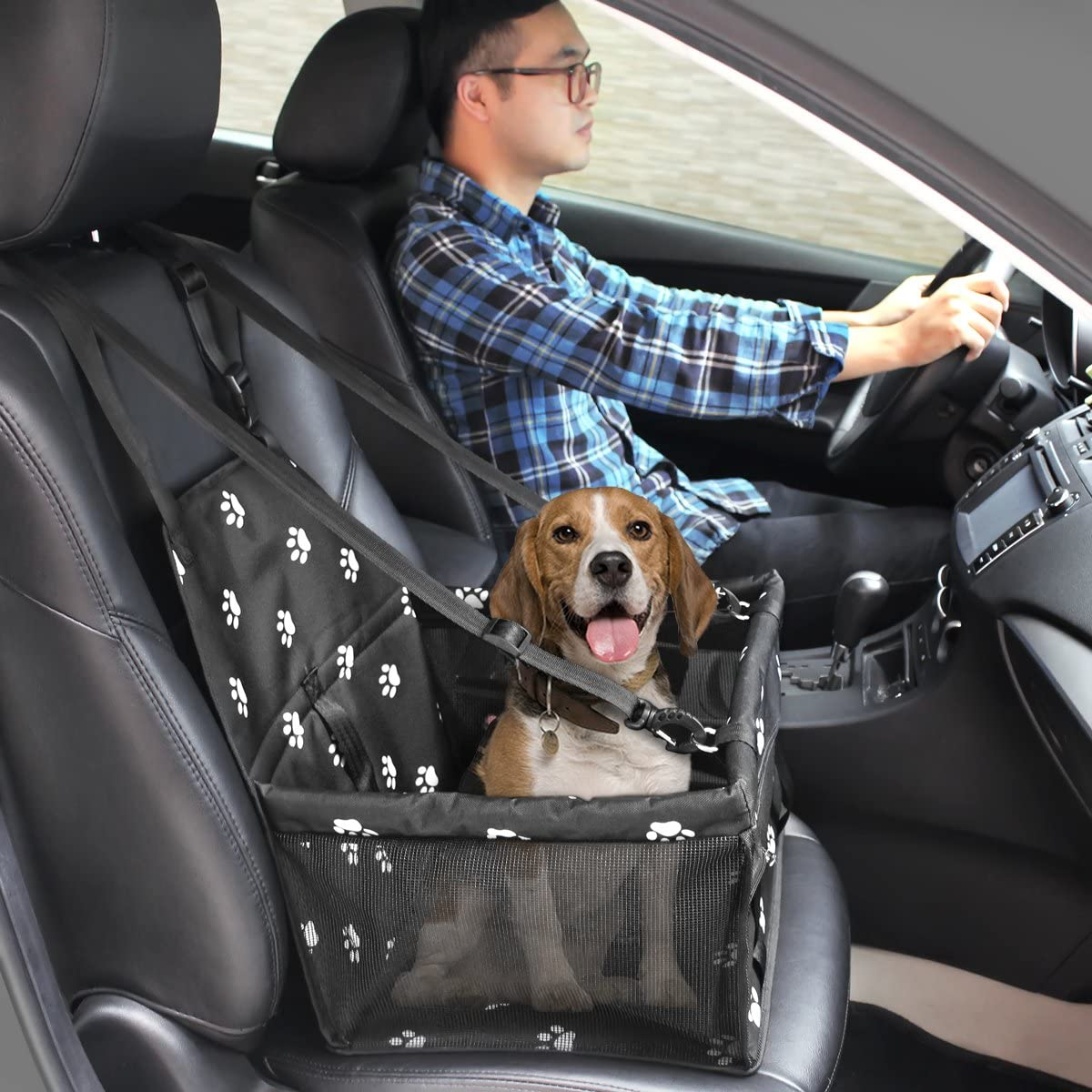 HIPPIH Collapsible Pet Booster Car Seat - 2 Support Bars, Portable Small Dog Cat Car Carrier with Safety Leash and Zipper Storage Pocket (Black with paw Prints) : Pet Supplies
