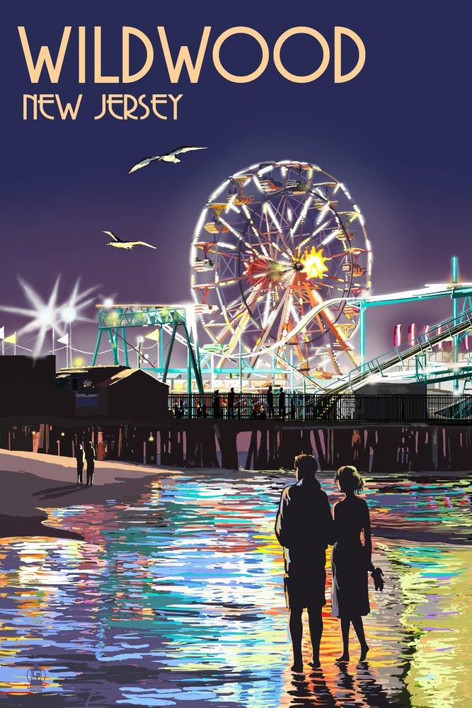最高の品質の Wildwood 36、新しいジャージー – Pier and at Rides at Night 10 x x 15 Wood Sign LANT-44695-10x15W B017E9USX8 36 x 54 Giclee Print 36 x 54 Giclee Print, クルメシ:b17a9723 --- arianechie.dominiotemporario.com
