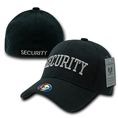 67a8eb324d7650 Black Security Officer Guard Flex Embroidered Baseball Fit Fitted  Structured Cap Hat S/M L/